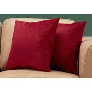 "Monarch Specialties 18"" x 18"" Polyester Red Accent Pillow, Set of 2 (I 9279)"