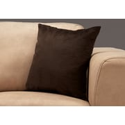 "Monarch Specialties 18"" x 18"" Polyester Brown Accent Pillow (I 9284)"