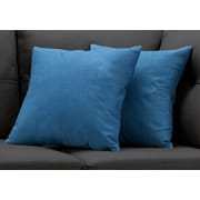 "Monarch Specialties 18"" x 18"" Polyester Blue Accent Pillow, Set of 2 (I 9291)"