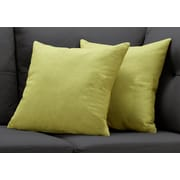 "Monarch Specialties 18"" x 18"" Polyester Green Accent Pillow, Set of 2 (I 9293)"