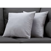 "Monarch Specialties 18"" x 18"" Polyester Light Grey Accent Pillow, Set of 2 (I 9295)"
