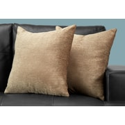 "Monarch Specialties 18"" x 18"" Polyester Tan Accent Pillow, Set of 2 (I 9297)"
