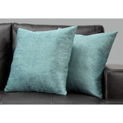 "Monarch Specialties 18"" x 18"" Polyester Blue Accent Pillow, Set of 2 (I 9299)"