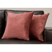 "Monarch Specialties 18"" x 18"" Polyester Dusty Rose Accent Pillow, Set of 2 (I 9301)"