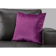 "Monarch Specialties 18"" x 18"" Polyester Purple Accent Pillow (I 9302)"