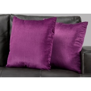 "Monarch Specialties 18"" x 18"" Polyester Purple Accent Pillow, Set of 2 (I 9303)"