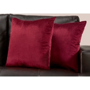 "Monarch Specialties 18"" x 18"" Polyester Burgundy Accent Pillow, Set of 2 (I 9305)"