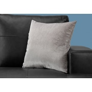 "Monarch Specialties 18"" x 18"" Polyester Silver Accent Pillow (I 9306)"