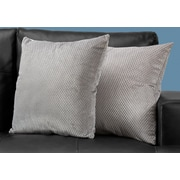 "Monarch Specialties 18"" x 18"" Polyester Silver Accent Pillow, Set of 2 (I 9307)"