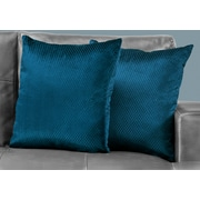 "Monarch Specialties 18"" x 18"" Polyester Blue Accent Pillow, Set of 2 (I 9309)"