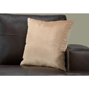 "Monarch Specialties 18"" x 18"" Polyester Beige Accent Pillow (I 9310)"