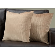 "Monarch Specialties 18"" x 18"" Polyester Beige Accent Pillow, Set of 2 (I 9311)"