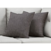"Monarch Specialties 18"" x 18"" Polyester Dark Grey Accent Pillow Set of 2 (I 9313)"