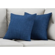 "Monarch Specialties 18"" x 18"" Polyester Blue Accent Pillow, Set of 2 (I 9315)"