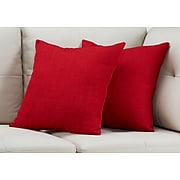 """Monarch Specialties 18"""" x 18"""" Polyester Red Accent Pillow, Set of 2 (I 9317)"""