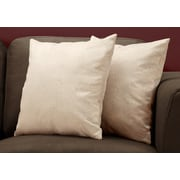 "Monarch Specialties 18"" x 18"" Polyester Taupe Accent Pillow, Set of 2 (I 9319)"