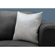 "Monarch Specialties 18"" x 18"" Polyester Light Grey Accent Pillow (I 9320)"