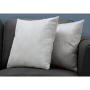 "Monarch Specialties 18"" x 18"" Polyester Light Grey Accent Pillow, Set of 2 (I 9321)"