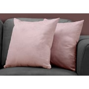 "Monarch Specialties 18"" x 18"" Polyester Pink Accent Pillow, Set of 2 (I 9323)"
