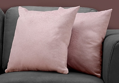 """Monarch Specialties 18"""" x 18"""" Polyester Pink Accent Pillow, Set of 2 (I 9323)"""