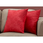 "Monarch Specialties 18"" x 18"" Polyester Red Accent Pillow, Set of 2 (I 9327)"