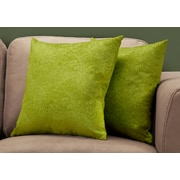 "Monarch Specialties 18"" x 18"" Polyester Green Accent Pillow, Set of 2 (I 9329)"