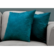 "Monarch Specialties 18"" x 18"" Polyester Turquoise Accent Pillow, Set of 2 (I 9331)"