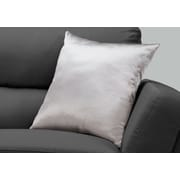 "Monarch Specialties 18"" x 18"" Polyester Silver Accent Pillow (I 9336)"