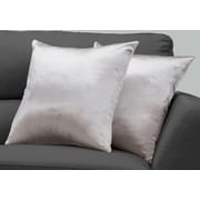 "Monarch Specialties 18"" x 18"" Polyester Silver Accent Pillow, Set of 2 (I 9337)"