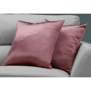 "Monarch Specialties 18"" x 18"" Polyester Pink Accent Pillow, Set of 2 (I 9339)"