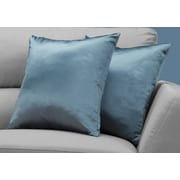 "Monarch Specialties 18"" x 18"" Polyester Blue Accent Pillow, Set of 2 (I 9343)"
