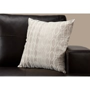 "Monarch Specialties 18"" x 18"" Polyester Taupe Accent Pillow (I 9344)"
