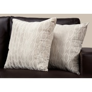 "Monarch Specialties 18"" x 18"" Polyester Taupe Accent Pillow, Set of 2 (I 9345)"