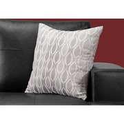 "Monarch Specialties 18"" x 18"" Polyester Grey Accent Pillow (I 9346)"