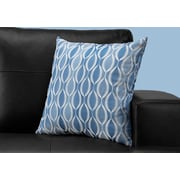 "Monarch Specialties 18"" x 18"" Polyester Blue Accent Pillow (I 9348)"