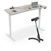 """Balt Up-Rite Electric Height Adjust Sit to Stand Desk, 72""""L x 30""""W Curved, Gray Elm (91153-D-8201-BK)"""