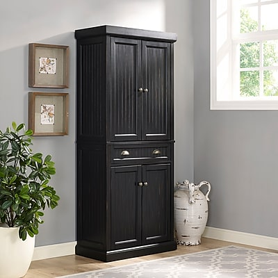 Crosley Seaside Kitchen Pantry in Distressed Black Finish (CF3103-BK)