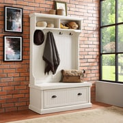 Crosley Seaside Hall Tree In Distressed White Finish (CF6006-WH)