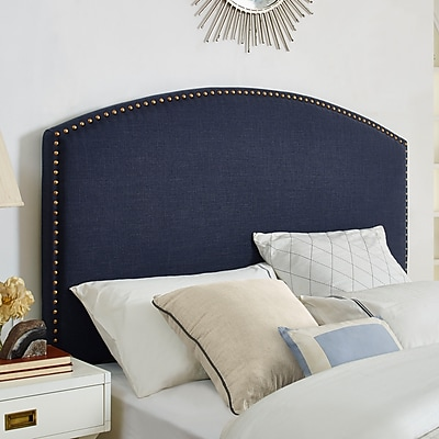 Crosley Cassie Curved Upholstered King/Cal King Headboard In Navy Linen (CF90008-601NV)