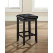 Crosley Upholstered Square Seat Bar Stool in Black Finish with 24 Inch Seat Height. (Set of Two) (CF500524-BK)