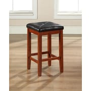 Crosley Upholstered Square Seat Bar Stool in Classic Cherry Finish with 24 Inch Seat Height. (Set of Two) (CF500524-CH)