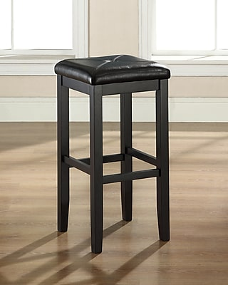 Crosley Upholstered Square Seat Bar Stool in Black Finish with 29 Inch Seat Height. (Set of Two) (CF500529-BK)