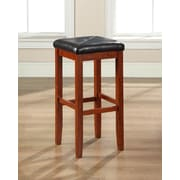Crosley Upholstered Square Seat Bar Stool in Classic Cherry Finish with 29 Inch Seat Height. (Set of Two) (CF500529-CH)