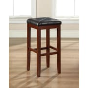 Crosley Upholstered Square Seat Bar Stool in Vintage Mahogany Finish with 29 Inch Seat Height. (Set of Two) (CF500529-MA)
