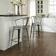 Crosley Amelia Metal Café Barstool With Back In Galvanized (Sold In Pairs) (CF500730-GA)