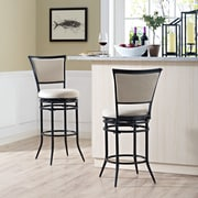 Crosley Rachel Swivel Counter Stool in Black with White Cushion (CF520026BK-WH)