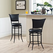 Crosley Rachel Swivel Bar Stool in Black with Black Cushion (CF520030BK-BK)