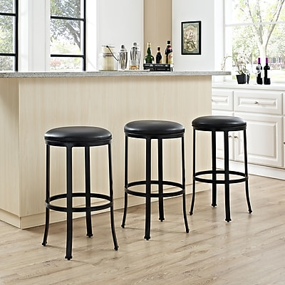 Crosley Windsor Bar Stool in Black with Black Cushion (CF520330BK-BK)