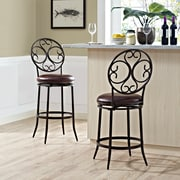 Crosley Arbor Swivel Counter Stool in Aged Bronze with Brown Cushion (CF520426AB-BR)