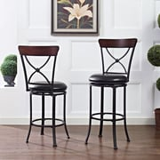 Crosley Pruitt Swivel Counter Stool in Black with Black Cushion (CF521226BK-BK)